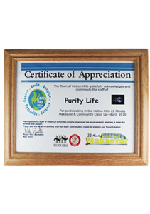 Purity Life Certificate Of Appreciation 2010