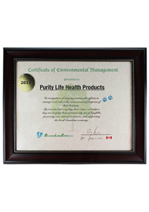 Purity Life Certificate of Environmental Management 2011